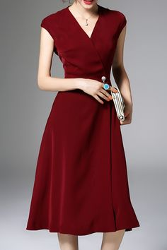 Solid Color Pearls Belted Dress