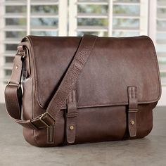 The men's leather messenger bag that's built with access in mind.  The Belmont Messenger Bag in Italian leather has it all without being overdone.