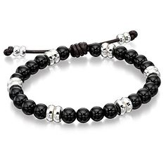 Fred Bennett Leather Silver And Onyx Beaded Bracelet  Price Β£89.95 http://www.thesterlingsilver.com/product/tuscany-silver-sterling-silver-onyx-square-cufflinks/