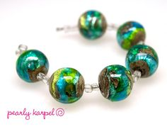 Green and Turquise round lampwork  beads set of 6 made by pearly karpel SRA MTO lampwork glass beads jewelry supplies, lampwork glass, bead