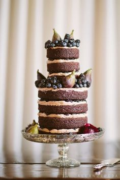Lael Cakes/ Vegan & gluten-free chocolate cakes layered with espresso icing, blackberries and figs