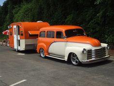 Chevy Window Panel Truck w/camper Vintage Campers Trailers, Vintage Caravans, Camper Trailers, Scamp Trailer, Shasta Trailer, Vintage Rv, Automobile, Panel Truck, Pt Cruiser