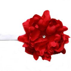 Jamie Rae Hats- White Flowerette Burst Headband with Red Small Peony - coupon quotes Elastic Headbands, Baby Girl Headbands, Baby Shower Gifts, Baby Gifts, Peony Flower, Flowers, Baby Sun Hat, Couples Coupons, Red Peonies