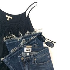 Joie fringe tank with Paige Denim destroyed flare jeans and Karen Walker sunglasses   http://www.shopgh2.com