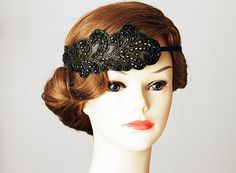 Great Gatsby Flapper Black Beaded Headband Hairband  by NAFEstudio