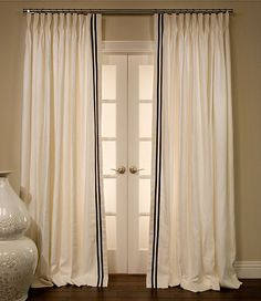 Choose your Linen fabric, style, length, width and pleat option and we will make your perfect custom Linen Drapes. Save On Designer Linen Drapes by DrapeStyle. Custom Drapes, Custom Drapery, Curtain Trim, Drapestyle, Curtains, Drapes And Blinds, Drapes, Curtains With Blinds, Ribbon Trim