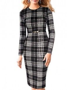 Trendy Assorted Colors Houndstooth Bodycon-dress