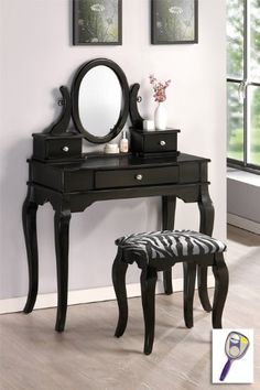 Shop the Austin Black Makeup Vanity Table Set at discounted price. Chic vanity table with 3 drawers for your bedroom. Black Vanity Table, Black Makeup Vanity, Vanity Table Set, Makeup Table Vanity, Wood Vanity, Vanity Stool, Makeup Stool, Makeup Vanities, Makeup Desk