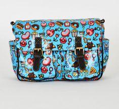Blue Printed Zip Fastening Satchel Bag College and School Bags, Messenger Bags UK