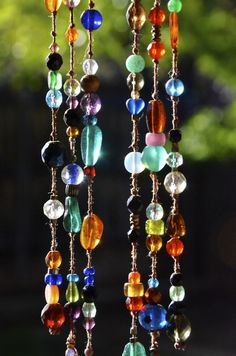 Beaded sun-catchers - jewelry for your home  :-) No directions for this but should be able to figure it out with too much trouble.