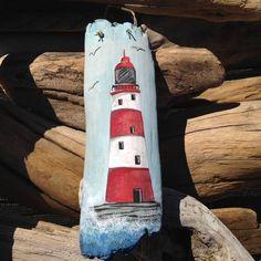 Items similar to Driftwood Art - Hand Painted Lighthouse on Etsy - - Pebble Painting, Pebble Art, Stone Painting, Painting On Wood, Painted Driftwood, Driftwood Art, Rock Painting Designs, Painting Patterns, Painted Rocks