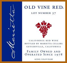 Marietta Cellars Old Vine Red Lot Number 59 (bought this at Whole Foods) predominantly Zinfandel Wine And Liquor, Wine Drinks, Beverages, Wine Finder, Best Red Wine, Fine Wine And Spirits, Cheap Wine, Wine List, Wine Tasting