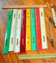 Vintage Wood Plastic Folding Rulers Colorful Arts Crafts Supplies 13 Rulers