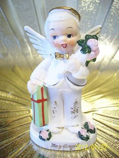 VTG Napco May Birthday Boy Angel w/ Gifts Figurine ABSOLUTELY ADORABLE!