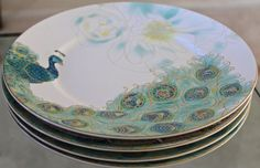 222 FIFTH SET OF 4 LAKSHMI DINNER PLATES 10 7/8 NEW IN BOX GREEN GOLD PEACOCK