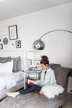 Black, Grey and White Bedroom Interiors #BedroomChair