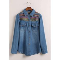 Long Sleeves Women's Denim Shirt With Pockets