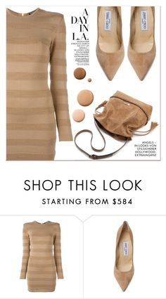 """""""Beige Motion"""" by lucky-1990 ❤ liked on Polyvore featuring Balmain, Jimmy Choo and Lumière"""