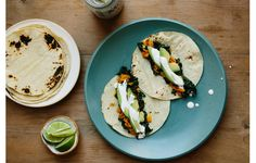 Green Tacos- add some chicken for an added protein boost, and adobo sauce to the crema for extra kick