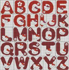 more motifs for baby & kids on my  special pinboard ;O) Hello Kitty Alphabet cross stitch Ângela Bordados: Esses monogramas são fofinhos...
