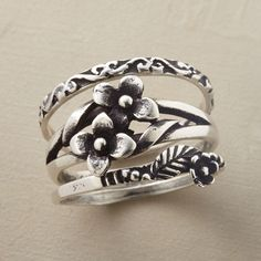 ENGLISH GARDEN RING TRIO--Details plucked from a prolific garden populate our bands, two with blossoms, one a scrolled flowerbed border. Handcrafted exclusive set of 3. Whole sizes 5 to 10.