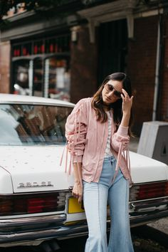 storets, shoreditch, morgane lay, photography, fashion, soraya bakhtiar, london, east london, vintage car, mercedes, bomber jacket, pink, storets, jeans, flared, cropped, frayed, IRO,