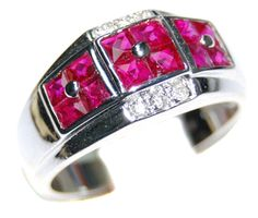 18K White Gold Ruby Gemstone and Diamond Ring  R0001
