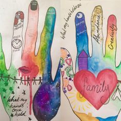 Hands Past and Future: Art Therapy Activity. Hands Past and Future: Art Therapy Activity.,In my next life…. Hands past and … Art Therapy Projects, Art Therapy Activities, Therapy Tools, Play Therapy, Art Projects, Therapy Ideas, Group Activities, Hand Therapy, Social Work Activities