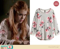 Lydia's grey floral sweater on Teen Wolf.  Outfit Details: http://wornontv.net/36370/ #TeenWolf