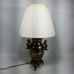VINTAGE ELECTRIC LAMP BRASS LIKE WITH SHADE