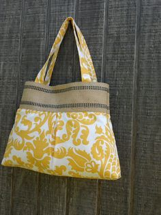 Yellow and White Damask Handbag Tote with Jute by DandelionHoney, $45.00