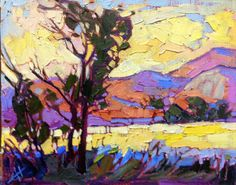 This is an original oil painting on board, by California impressionist Erin Hanson. The loose, expressive painting captures the movement and light