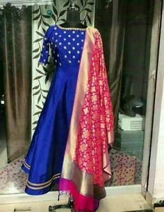 Royal Blue Designer Formal Pure silk Unstitched Chudidar set with Beautiful Pink Silk Zari Brocade Dupatta metres (full length with more girth) metres metres For getting this material stitched,kindly contact us. The total cost includes price of the raw Party Wear Indian Dresses, Indian Gowns Dresses, Party Wear Lehenga, Dress Indian Style, Silk Kurti, Silk Dupatta, Benarasi Dupatta, Churidar, Indian Designer Outfits