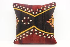 Organic Kilim Pillow Cover 18 x 18 Rustic Pillow by kilimwarehouse