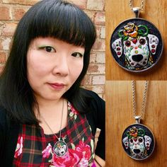 I love it when y'all share your photos with me! #happycustomer #doberman #dobe #dobie #dayofthedead #diadelosmuertos #sugarskull #handtooledleather #leather #leathercraft #leatherjewerly #necklace #portrait #dogportrait #custom #artist #latinxartist