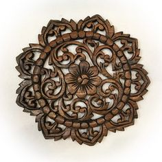 """Oriental Carved Lotus Round Wood Plaque in Brown Finish Size 12""""x12""""x0.5"""""""