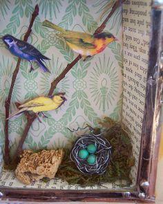 Tin Can Crafts, Bird Crafts, Handmade Headbands, Handmade Crafts, Handmade Rugs, Altered Tins, Altered Art, Barn Wood Crafts, Shadow Box Art