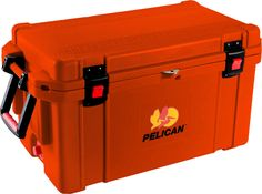 "65 Quart Orange Cooler: The quality you've come to expect from Pelican now also matches your favorite things in life! Don't worry about your tailgaiting grub getting too warm or your team's water bottles not staying cold enough. Up to 10 days ice retention*, freezer grade gasket, 2"" polyurethane insulation, Guaranteed for life, Assembled in the USA, Bear resistant certified from the Interagency Grizzly Bear Committee."