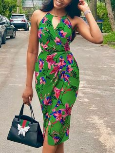 Shop Casual Dresses Floral Print Cut Out Halter Ruched Wrap Dress African Fashion Ankara, Latest African Fashion Dresses, African Print Dresses, African Print Fashion, Africa Fashion, African Dress, Trend Fashion, Look Fashion, Skirt Fashion