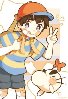 Fanart by Fluffysheeps. Ness and Mr. Saturn from MOTHER.