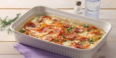 Slaný koláč s klobásou a so zeleninou - Recept