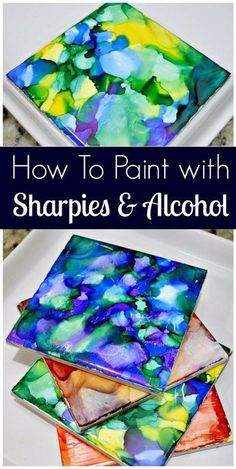 to Paint With Sharpies and Alcohol I have a new favorite crafting project! I painted some tiles with Sharpies and Rubbing Alcohol and the outcome is crazy good! This project is super easy, espec…I have a new favorite crafting project! I painted some tiles Alcohol Ink Crafts, Alcohol Ink Painting, Alcohol Ink Art, Sharpies, Sharpie Crafts, Sharpie Projects, Diy Teen Projects, Kids Craft Projects, Wax Paper Crafts