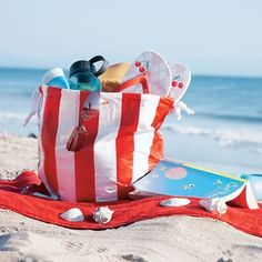 Cover an old tote bag in duct tape to make it waterproof for the pool or beach.