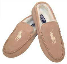 Polo Ralph Lauren Men's Sherpa Lined Slippers-Tan/White