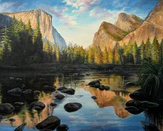 """#LakeMirror in #Yosemite. """"Mirror, Mirror on the wall..."""" #painting oil on canvas"""