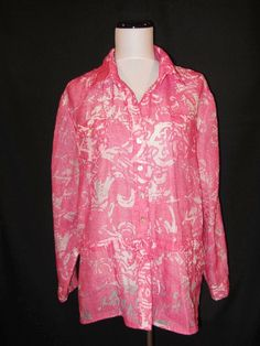 Chicos size 3 14 16 Blouse Shirt Pink Linen Loose Fit Flowers Waist Gathers #Chicos #Blouse #Career