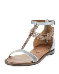 Brunello Cucinelli Velvet T-Strap Sandal with Monili Drape