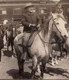1903,Teddy Roosevelt on horseback, as he gets ready to tour Yellowstone. Teddy did a great job as president setting aside some of our most beautiful landscapes as National Parks