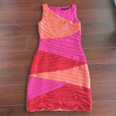 Nwot:Bcbgmaxazria Size Sm Pink, Orange & Red Dress