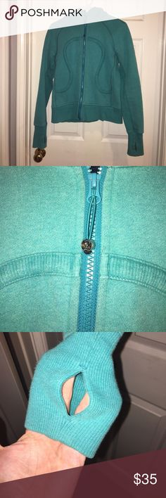 Lululemon Scuba Hoodie Lululemon size 8 Scuba hoodie. Pictures are true to color. A mint/aqua color with navy blue inside. No tears or stains. Fading from wear. Nice and warm. Priced to sell and firm. Lululemon Tops Sweatshirts & Hoodies
